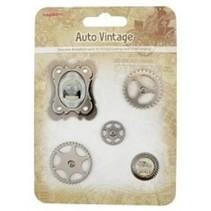 Metal Charms Set Auto Vintage, 5 Teile