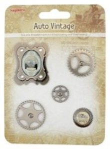 Embellishments / Verzierungen Charms in metallo Set di auto d'epoca, 5 parti