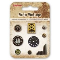 Metal Charms Set Car Vintage, 9 dele
