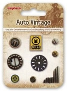 Embellishments / Verzierungen Metal Charms Set Car Vintage, 9 dele