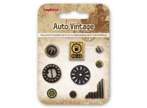Embellishments / Verzierungen Metal Charms Set Car Vintage, 9 parts