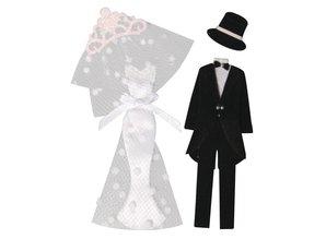 Embellishments / Verzierungen Pegatinas decorativas: la novia + novio, con puntos de adhesivo, 4 partes