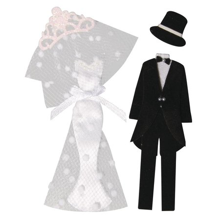 Embellishments / Verzierungen Deko-Sticker: Braut+Bräutigam, mit Klebepunkt, 4 Teile