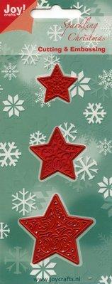 Joy!Crafts und JM Creation Stempling og prægning stencil, 3 stjerner