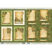 2 Deluxe Die cut ark: baggrundsbilleder med guld ramme + 3D Die cut ark