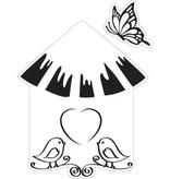 Marianne Design Estampación y embutición de la plantilla + sello, aviario: pájaros
