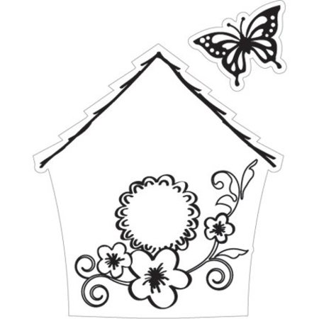 Marianne Design Estampado y Repujado stencil + sello, pajarera: Flores