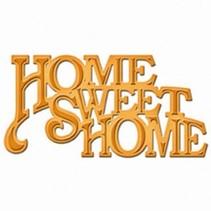 """Skæring og prægning stencils, D-Lites, tekst """"Home Sweet Home"""""""