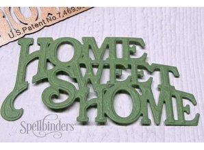 """Spellbinders und Rayher Skæring og prægning stencils, D-Lites, tekst """"Home Sweet Home"""""""