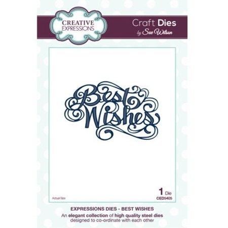 "Creative Expressions Skæring og prægning stencils, The Expressions Collection ""Best Wishes"""