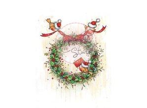 Wild Rose Studio`s Gennemsigtige frimærker, jul krans