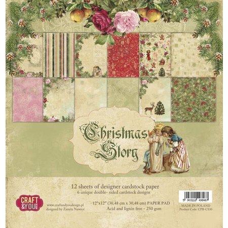 Designer Papier Scrapbooking: 30,5 x 30,5 cm Papier Diseñador Block, cuento de Navidad