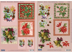 BASTELSETS / CRAFT KITS: Complete Kits, for 4 Christmas Cards