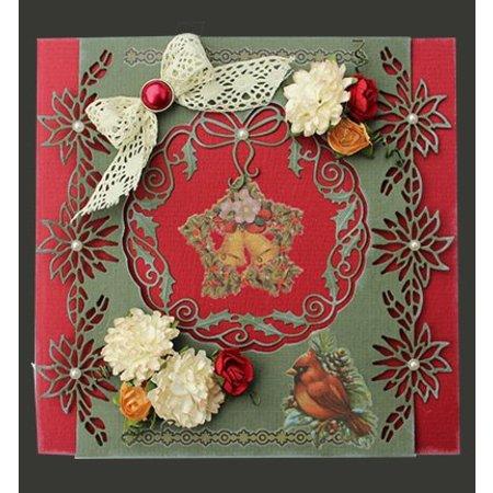 Joy!Crafts und JM Creation Stempling og prægning stencil: julestjerne krans