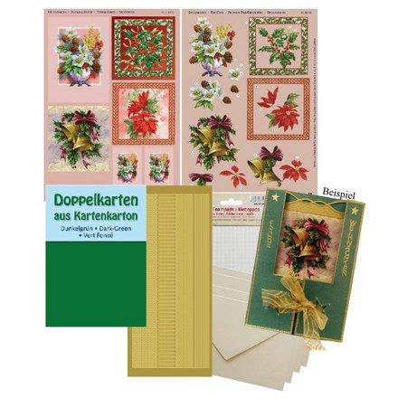 BASTELSETS / CRAFT KITS: Komplettes Bastelset, für 4 Weihnachtskarten