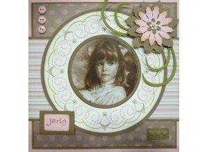 Nellie snellen Doble corte y esténcil relieve, forma de la flor de