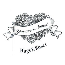 Rubber zegel, rozen hart met label en tekst