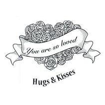 Sello de goma, rosas corazón con etiqueta y texto