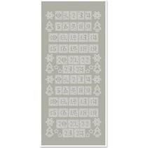 Sticker, Zahlen für Adventskalender, silber-silber