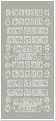 Sticker Klistermærker, tallene for julen strømper, sølv-sølv
