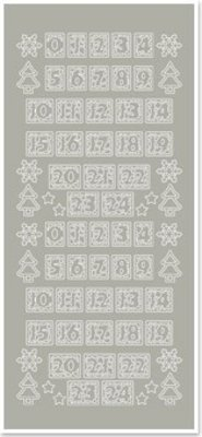 Sticker Stickers, figures for Christmas stockings, silver-silver