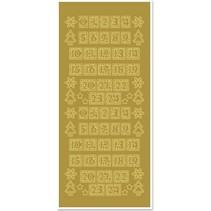 Stickers, cijfers voor de kerst kousen, goud