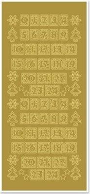 Sticker Klistermærker, tal til jul strømper, guld