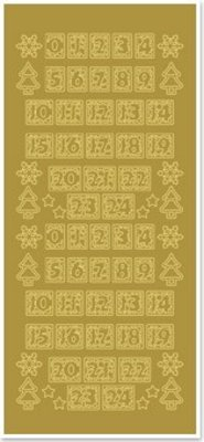 Sticker Stickers, figures for Christmas stockings, gold