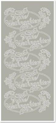 Sticker Sticker, Glædelig Jul, sølv-sølv