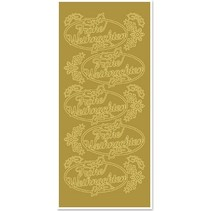 Sticker, Merry Christmas, goud