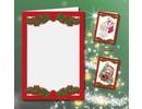 KARTEN und Zubehör / Cards 5 carte doppie A6, Passepartout - Cartoline di Natale, in rilievo rosso
