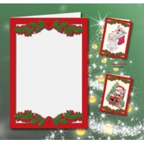 5 dubbele kaarten A6, Passepartout - kerstkaarten, reliëf rood