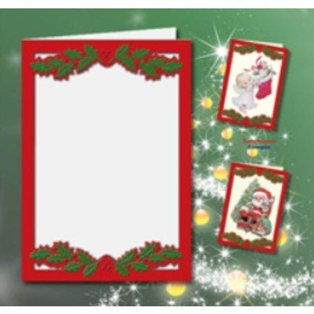 KARTEN und Zubehör / Cards 5 Doppelkarten A6, Passepartout - Weihnachtskarten, geprägt, rot