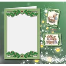 5 dobbelt kort A6, Passepartout - julekort, præget, grøn
