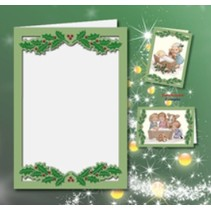 5 double cards A6, Passepartout - Christmas card, embossed, green