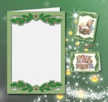 KARTEN und Zubehör / Cards 5 carte doppie A6, Passepartout - Cartolina di Natale, in rilievo, verde