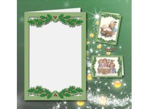 KARTEN und Zubehör / Cards 5 dobbelt kort A6, Passepartout - julekort, præget, grøn