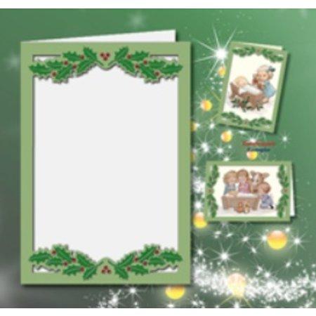 KARTEN und Zubehör / Cards 5 tarjetas dobles A6, Passepartout - Tarjeta de Navidad, en relieve, verde