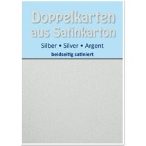 10 Satin double cards A6, silver, satin finish on both sides
