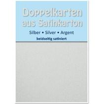 10 Satin dubbele kaarten A6, zilver, satijn afwerking aan beide zijden