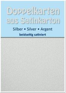 KARTEN und Zubehör / Cards 10 Satin doppie schede A6, argento, finitura satinata su entrambi i lati