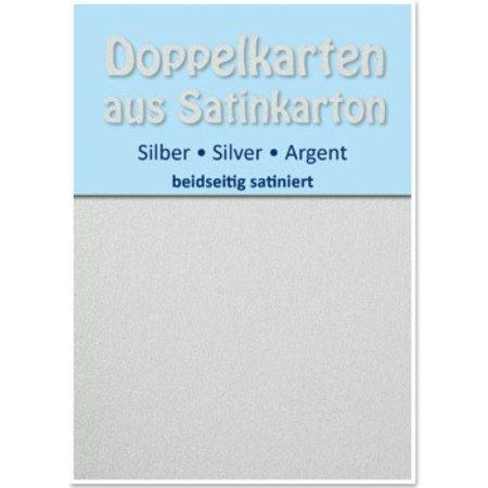 KARTEN und Zubehör / Cards 10 Satin-Doppelkarten A6, silber, beidseitig satiniert