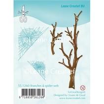 Gennemsigtige frimærker, grene og Spinnewebe