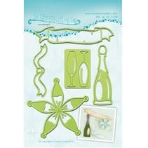 Troquelado y estampado en relieve plantillas Lea'bilitie, una botella de champán y gafas