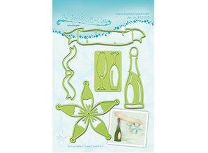 Leane Creatief - Lea'bilities Troquelado y estampado en relieve plantillas Lea'bilitie, una botella de champán y gafas