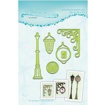 Corte y estampado en relieve plantillas Lea'bilitie, linterna y reloj