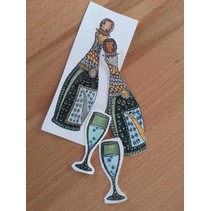 Transparent Stempel, Doodle Champagne