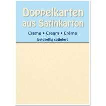 5 Satin-Doppelkarten A6, creme, beidseitig satiniert