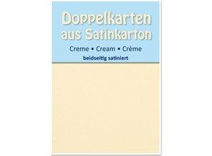 KARTEN und Zubehör / Cards 5 satén tarjetas dobles A6, crema, de satén en ambos lados