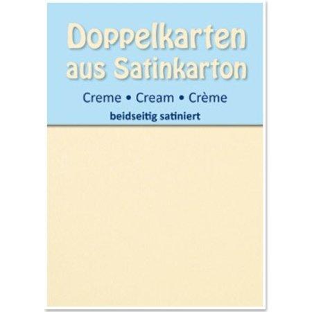 KARTEN und Zubehör / Cards 5 Satin dubbele kaarten A6, room, satijn aan beide zijden